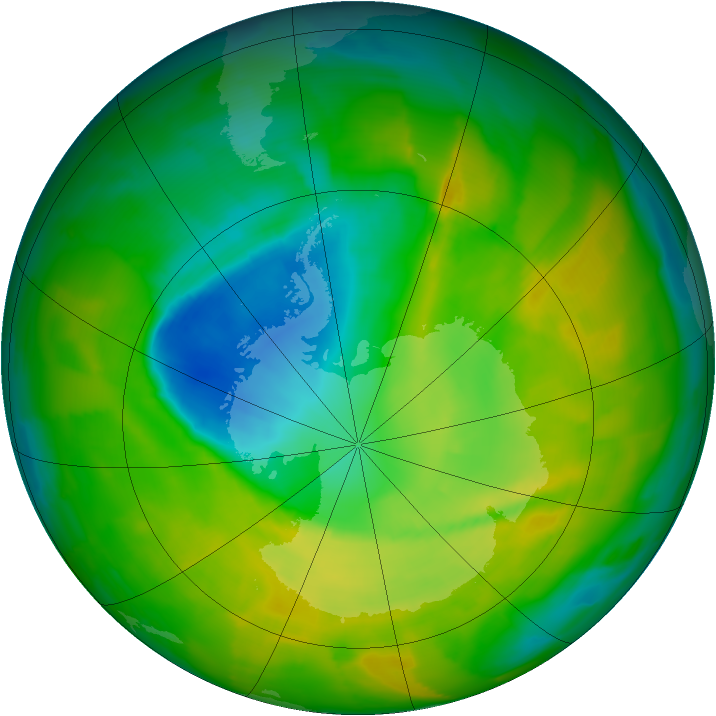 Antarctic ozone map for 10 November 2012