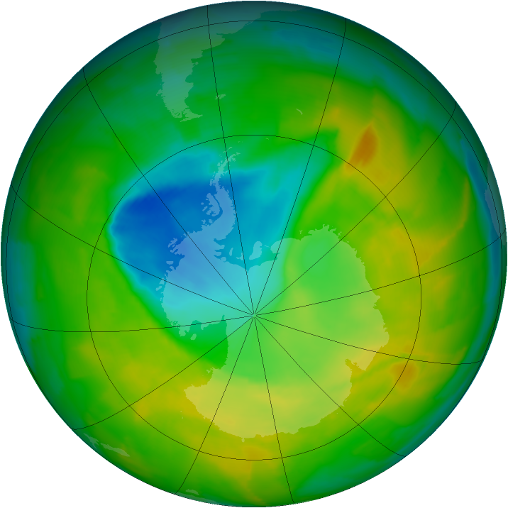 Antarctic ozone map for 11 November 2012
