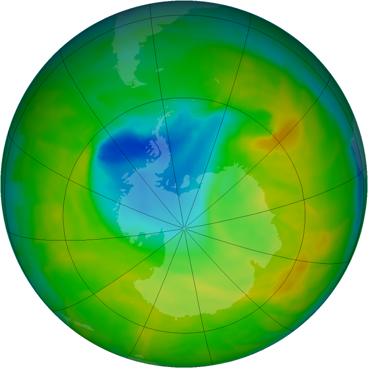 Antarctic ozone map for 12 November 2012