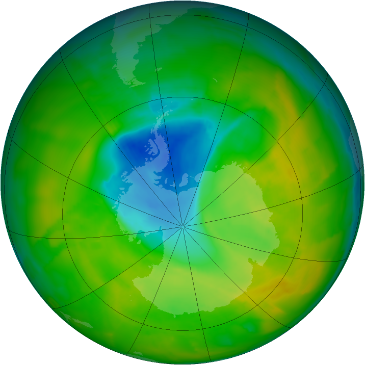 Antarctic ozone map for 13 November 2012