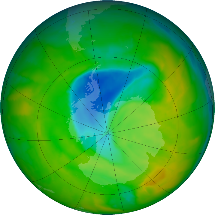 Antarctic ozone map for 14 November 2012