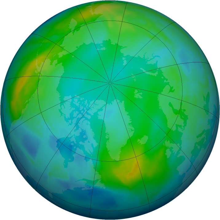 Arctic ozone map for 20 November 2012