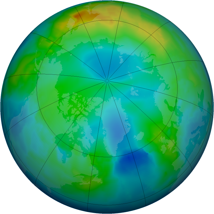 Arctic ozone map for 26 November 2012