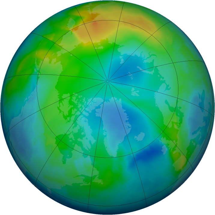 Arctic ozone map for 27 November 2012