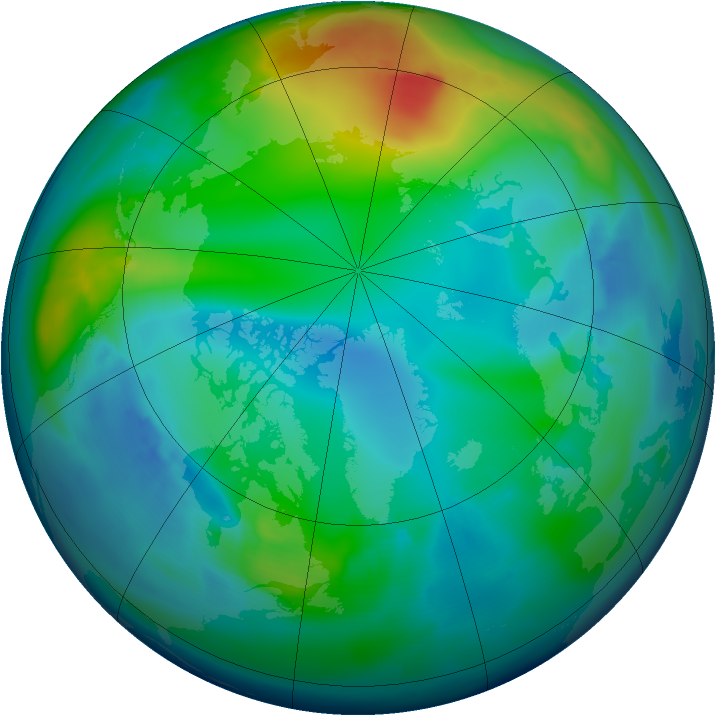 Arctic ozone map for 30 November 2012
