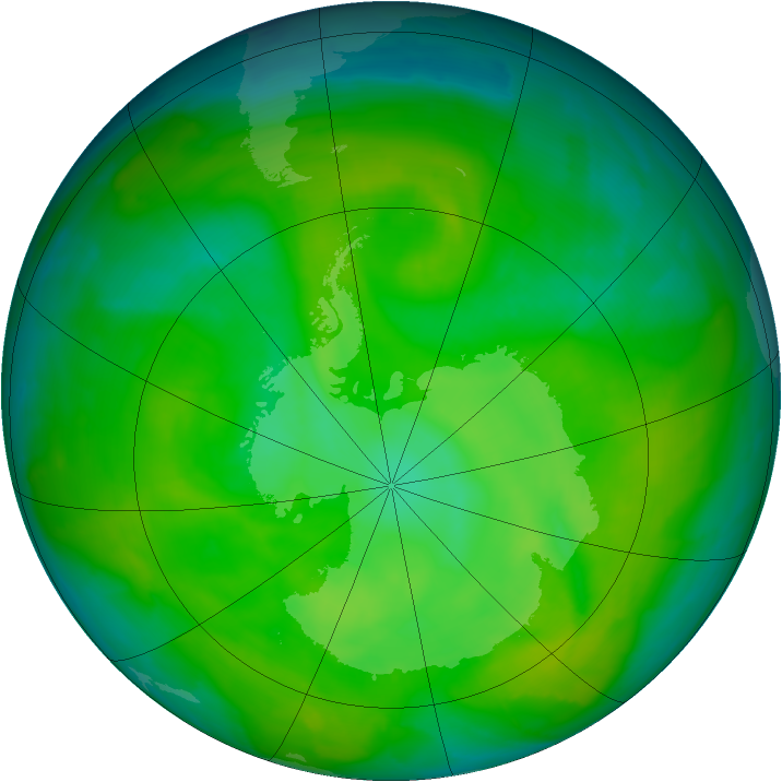 Antarctic ozone map for 04 December 2012