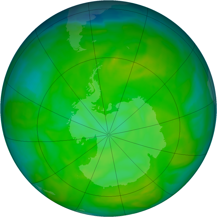 Antarctic ozone map for 06 December 2012