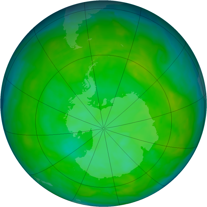 Antarctic ozone map for 13 December 2012