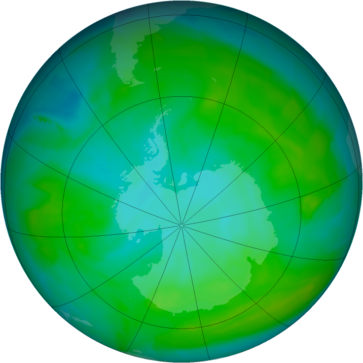 Antarctic ozone map for 28 December 2012