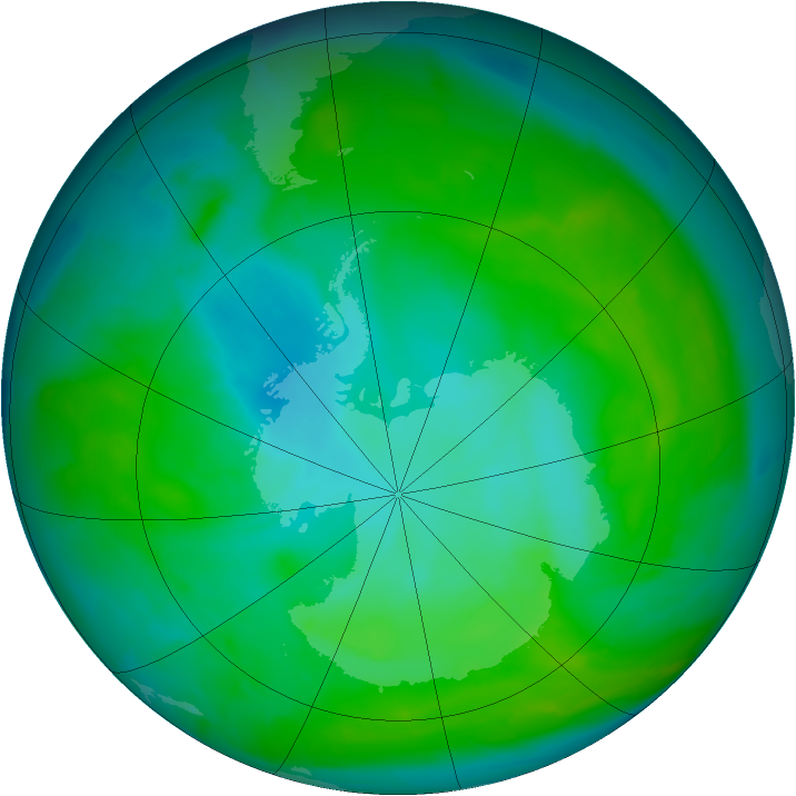 Antarctic ozone map for 29 December 2012