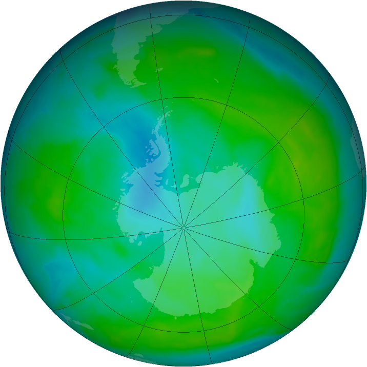 Antarctic ozone map for 30 December 2012