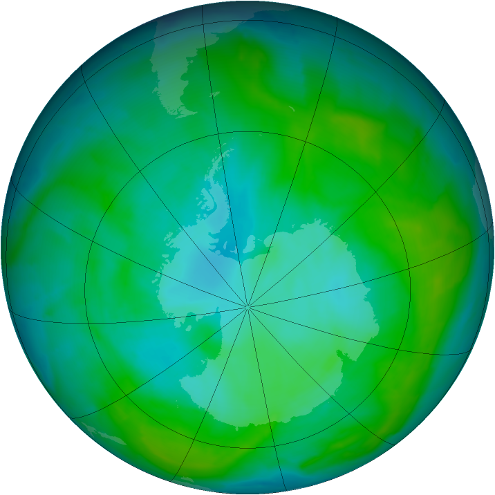 Antarctic ozone map for 01 January 2013