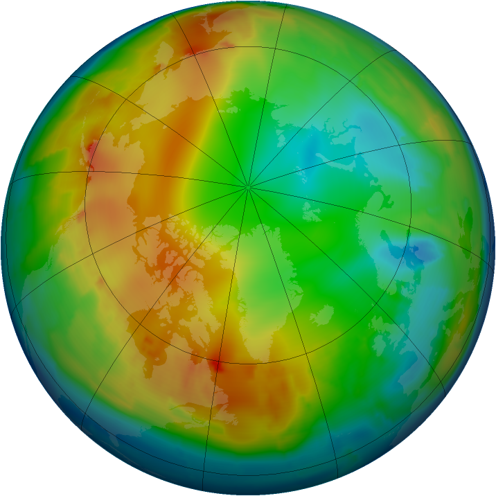 Arctic ozone map for 03 January 2013