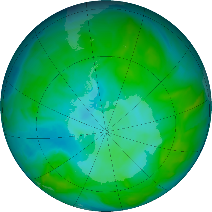 Antarctic ozone map for 03 January 2013