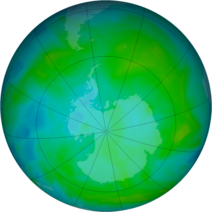 Antarctic ozone map for 05 January 2013