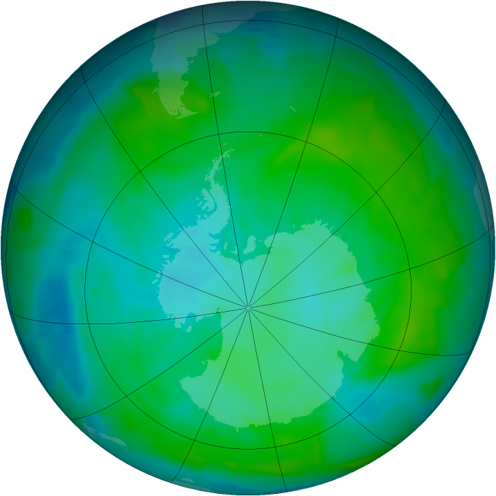 Antarctic ozone map for 06 January 2013