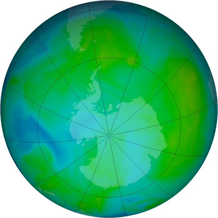 Antarctic ozone map for 08 January 2013