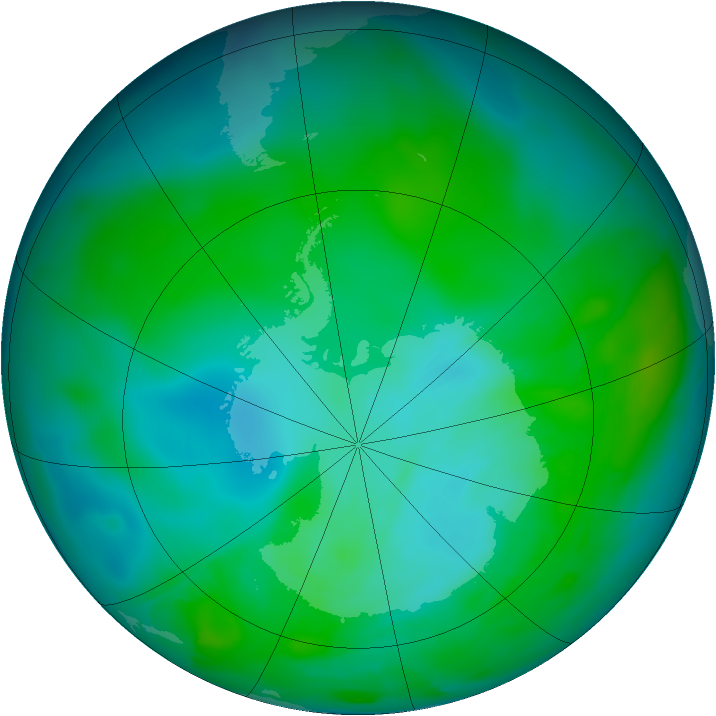 Antarctic ozone map for 10 January 2013