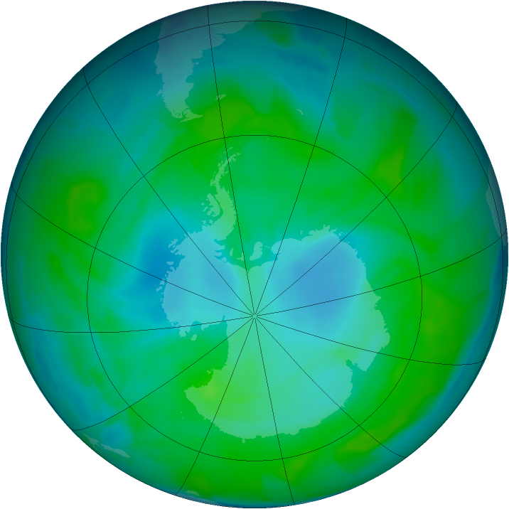 Antarctic ozone map for 12 January 2013