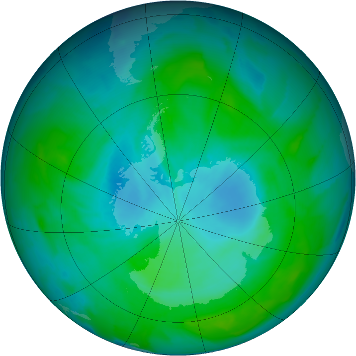 Antarctic ozone map for 13 January 2013
