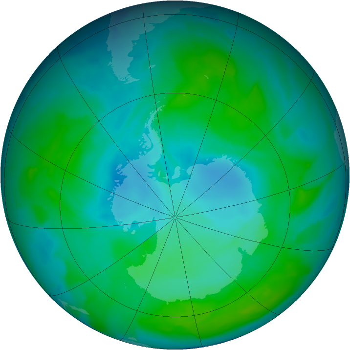 Antarctic ozone map for 14 January 2013