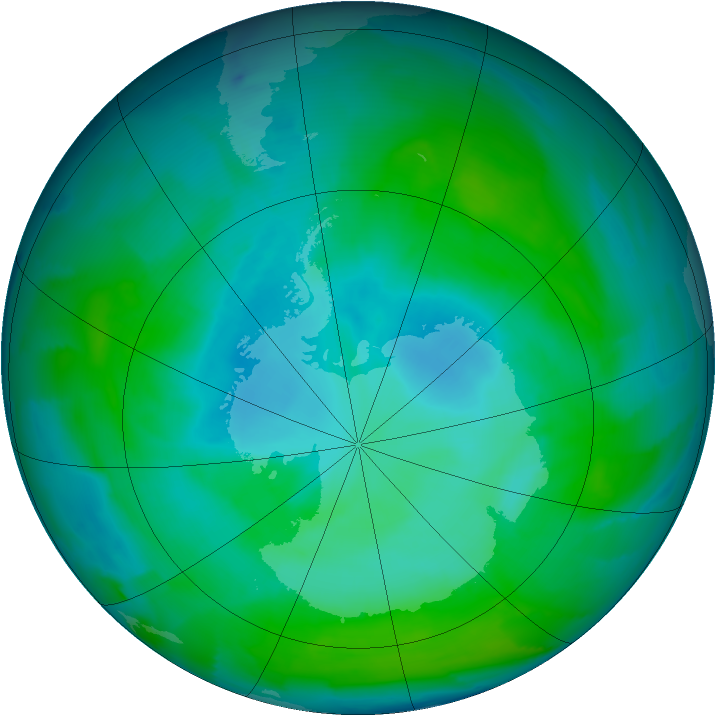 Antarctic ozone map for 15 January 2013