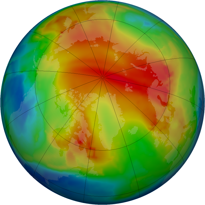 Arctic ozone map for 16 January 2013