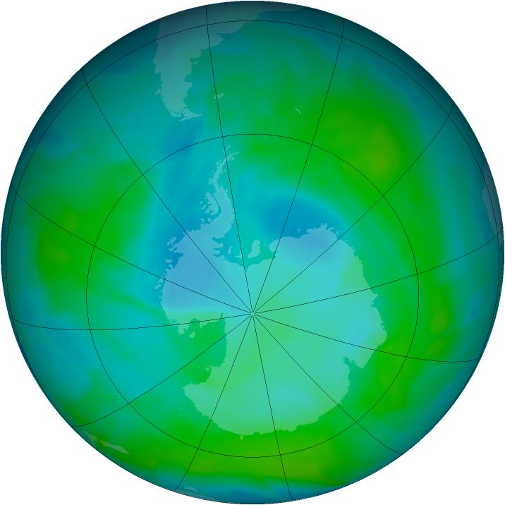 Antarctic ozone map for 16 January 2013