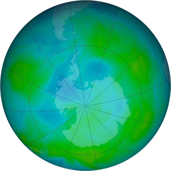 Antarctic ozone map for 17 January 2013
