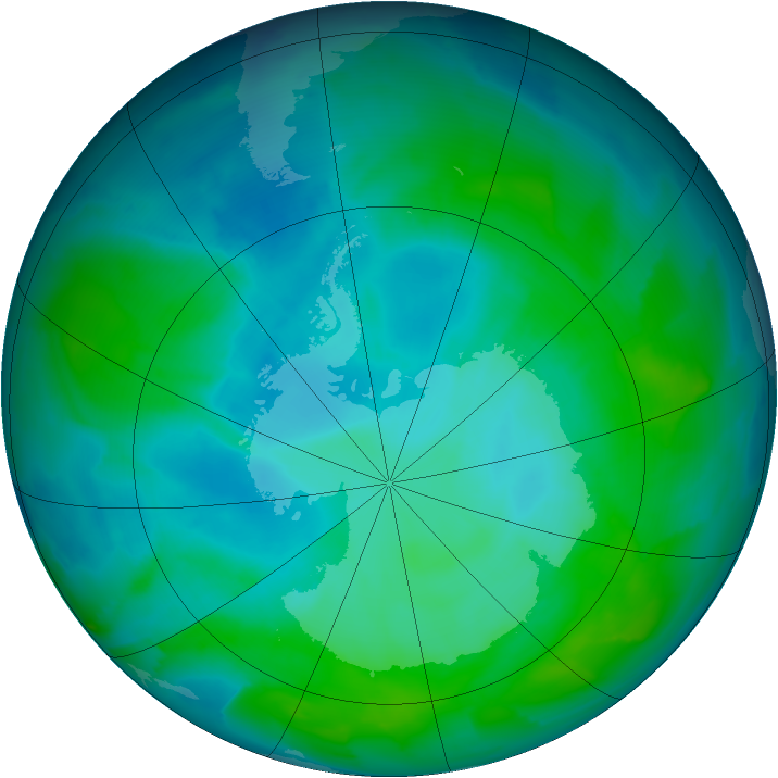 Antarctic ozone map for 18 January 2013
