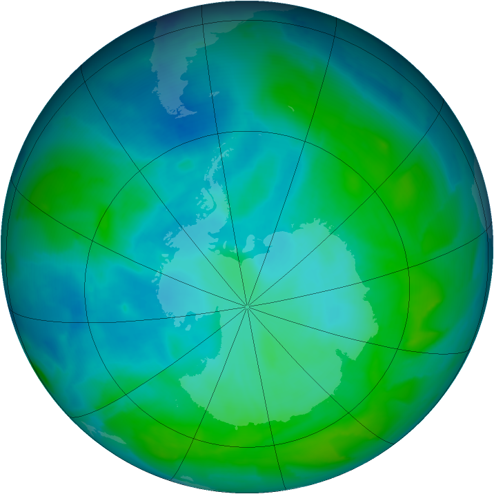 Antarctic ozone map for 19 January 2013