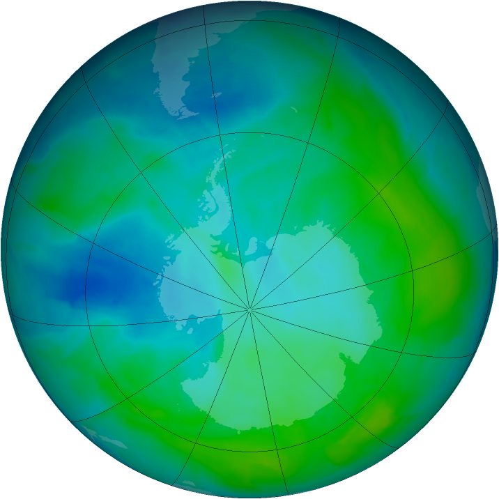 Antarctic ozone map for 21 January 2013