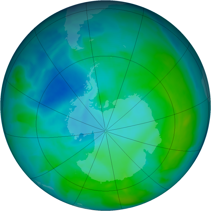 Antarctic ozone map for 23 January 2013