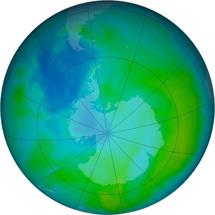 Antarctic ozone map for 24 January 2013