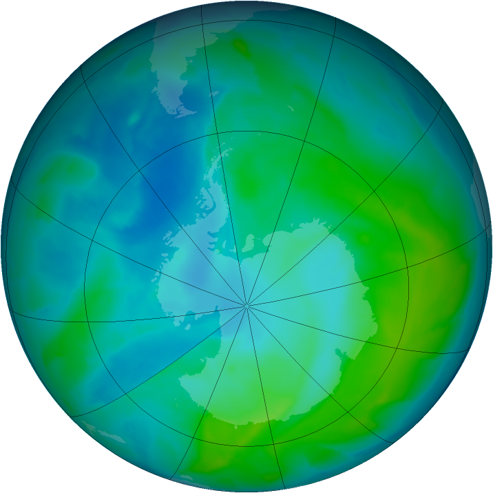 Antarctic ozone map for 25 January 2013