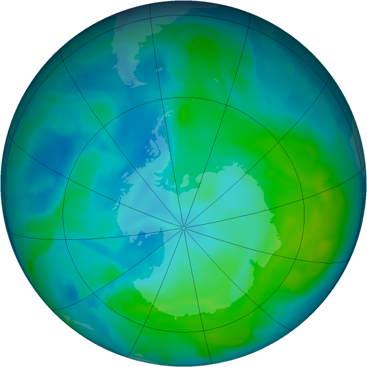 Antarctic ozone map for 26 January 2013