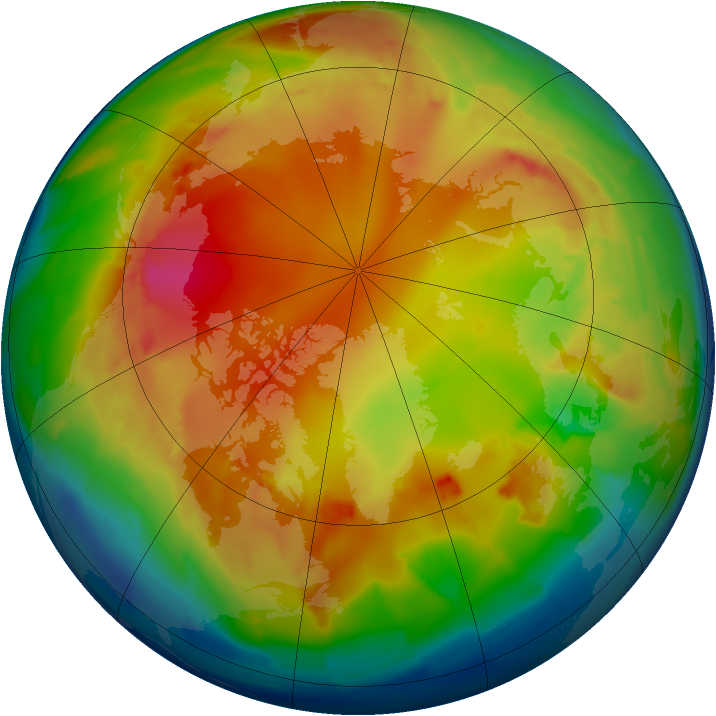 Arctic ozone map for 27 January 2013