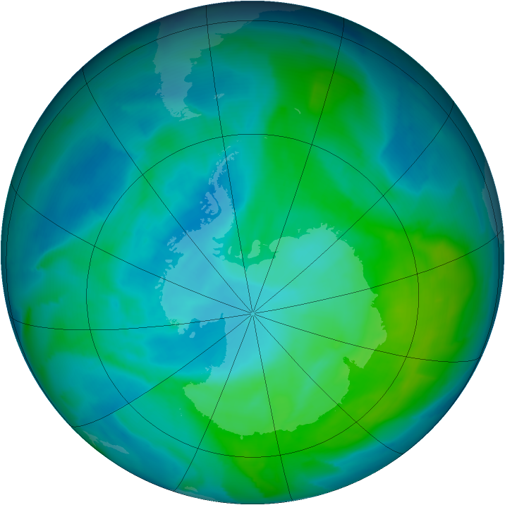 Antarctic ozone map for 27 January 2013
