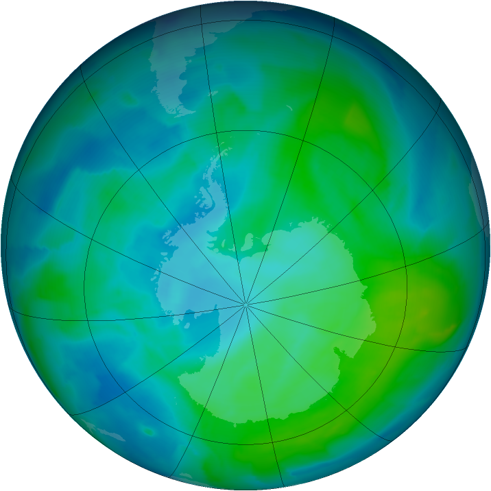 Antarctic ozone map for 28 January 2013