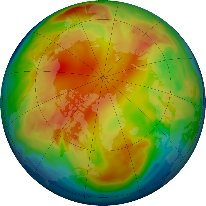 Arctic ozone map for 29 January 2013