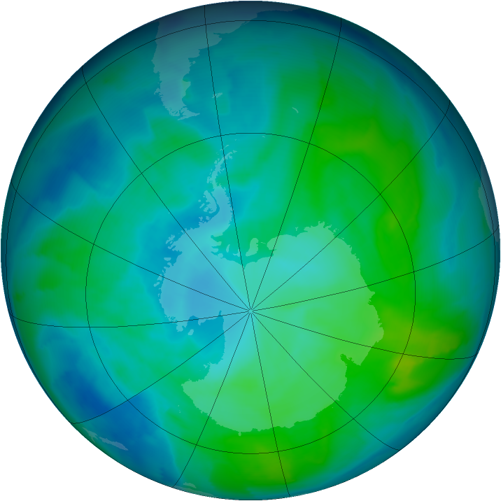 Antarctic ozone map for 29 January 2013
