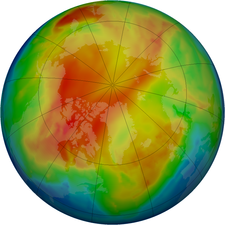 Arctic ozone map for 30 January 2013