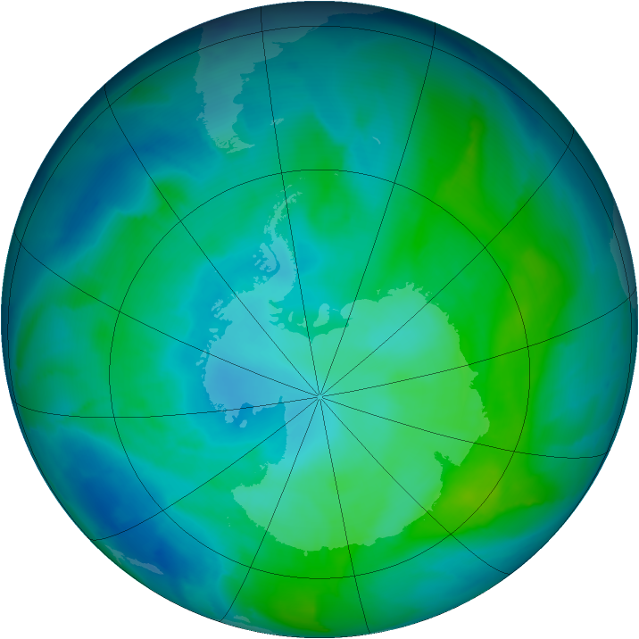 Antarctic ozone map for 30 January 2013