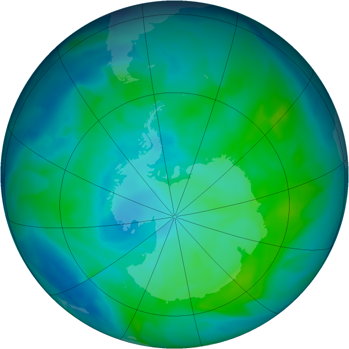 Antarctic ozone map for 31 January 2013