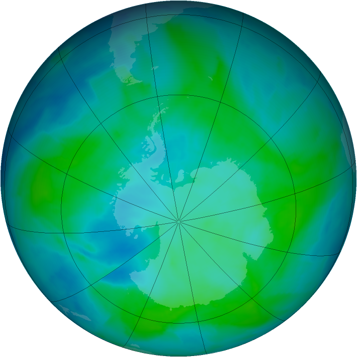 Antarctic ozone map for 03 February 2013