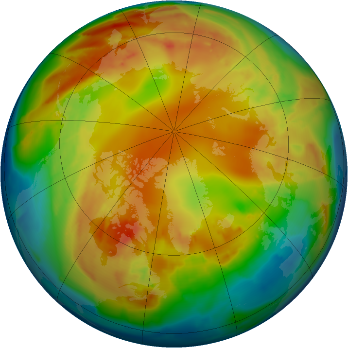 Arctic ozone map for 04 February 2013