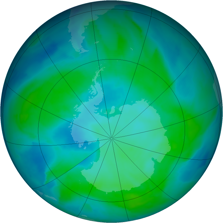 Antarctic ozone map for 04 February 2013