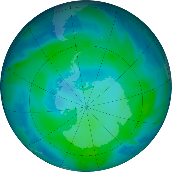 Antarctic ozone map for 06 February 2013