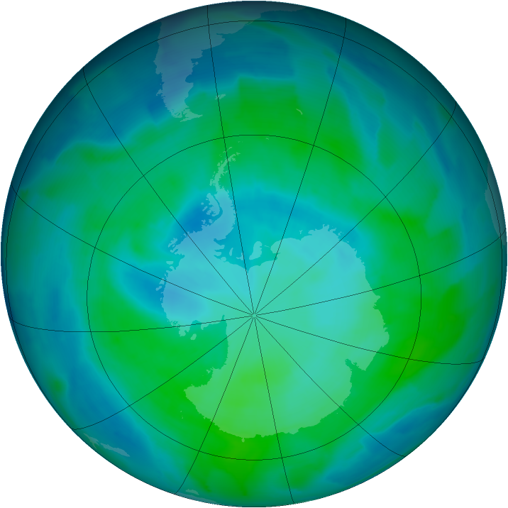 Antarctic ozone map for 07 February 2013