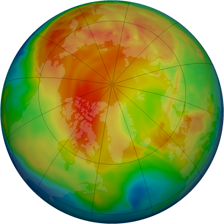 Arctic ozone map for 11 February 2013